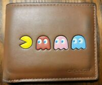 Coach x PacMan Saddle Brown Billfold Leather Wallet Mens Rare - Limited Edition!