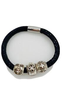 Brighton Woodstock Sparkle Black Add Bead Charm Bracelet 3 Silver Crystal Slide