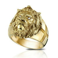 18K Yellow Gold Plated Lion Face White Topaz Ring Woman Wedding Jewelry Sz7-13