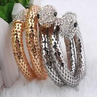 Retro  GOLD  SILVER Stretch Wrap Rhinestone Crystal Snake Cuff Bangle gift