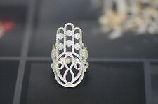 Sterling Silver Hamsa Love Infinity CZ Micro Pave Ring