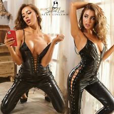 Tuta Catsuit Mistress Latex PU Clubwear Cavallo Aperto Laterale Dominatrice Sexy