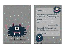 Einladungskarten Kindergeburtstag Monsterparty, 10 Einladungen Kindergeburtstag