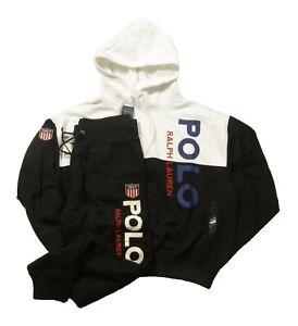 Polo Ralph Lauren Women's Black & White Logo Print Hoodie & Jogger Pant Set