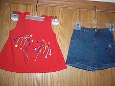 Cradle Togs Girls Size 12M 2 Piece Top Denim Shorts Red Blue Fireworks Stars