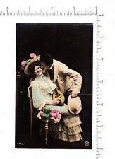 4973 Man woman courtship 1910 real photo postcard, bowl back mandolin, success