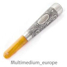 Antike Silber Zigarettenspitze Butterscotch Bernstein Jugendstil silver amber