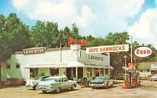 Pawleys Island SC Esso Gas Station Lachicotte's Food Center Old Cars Postcard