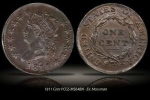 1811 1C CLASSIC HEAD LARGE CENT S-287, R2, PCGS MS64, EX Cardinal Collection.
