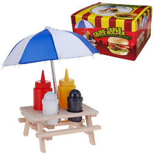 PICNIC TABLE SAUCE HOLDER SET BBQ KETCHUP MUSTARD UMBRELLA WOODEN TABLE BENCH