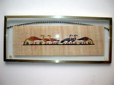 Beautiful Vintage Ducks In A Row Painting On Bark/Papyrus Framed Between Glass