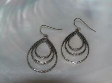Silvertone Teardrop Dangle Earrings for Estate Thin Slightly Hammered Concentric