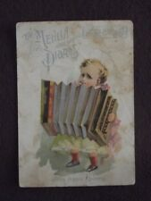 MEHLIN PIANOS, NORWICH CT VICTORIAN TRADE CARD - KID PLAYING ACCORDIAN