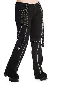 Black Nickel Chain Gothic Punk Bondage Rock Rockabilly Trousers BANNED Apparel