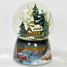 "Roman Inc CHURCH IN THE WOOD GLITTER DOME 5.5"" Music Snow Globe Evergreen"