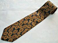 ITALY-VINTAGE AUTHENTIC BRIONI BLACK BROWN SILK MEN'S NECK TIE