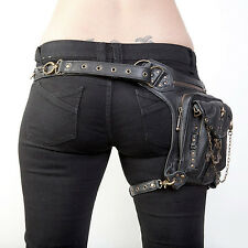 Women Men Rock Leather Retro Vintage Gothic Steam-Punk Shoulder Waist Bag #1