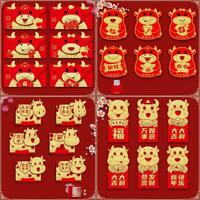 6Pcs Red Envelope 2021 Happy New Year Cow Lucky Chinese Red Envelopes Wholesale