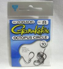 Package of 10 Size 8 Black Gamakatsu Octopus Circle Fishing Hooks