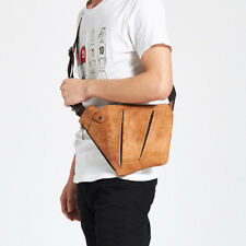 Men Chest Bags Genuine Leather Messenger Shoulder Cross body Bag Day pack Brown