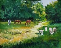 YARY DLUHOS ORIGINAL OIL PAINTING Landscape Lush Green Grass Trees Horse Animals