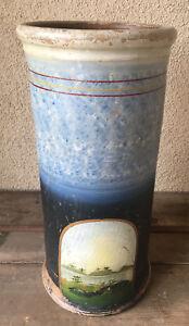 Umbrella Stand Hudson River Sponge Ware Hand Painted Blue HELP Antique 1880's
