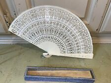 Antique Art Deco Celluloid Folding Ribbon  Fan