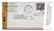 Haiti 1943 Double Censored Airmail Cover C22 Port au Prince to US Examiner 9818