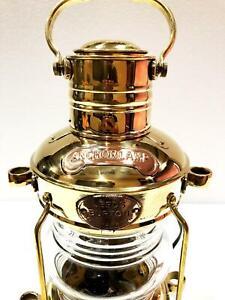 "Nautical Antique 14"" Ship Lamp Boat Shiny Gold Brass Oil Lantern Maritime Lamp"