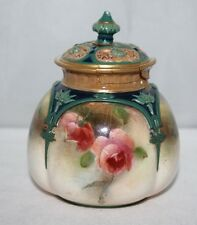 """Hadley's Worcester - 4"""" Lidded Pot Pourri - Roses - c1903"""