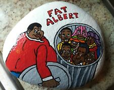 BIG! FAT ALBERT   hand painted RIVER rock STONE ART COLLECTIBLE by N Martin