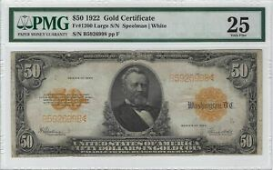 $50 1922 Gold Certificate Banknote, FR#1200, PMG 25