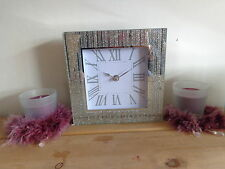 Stunning Silver Glitter Mantel Clock/Birthday/Christmas Present