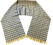 Vintage Wool Winter Scarf Woven Plaid Gray Beige Womens Fringe Estate Find