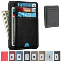 Men's RFID Blocking Leather Credit Card Holder Case Money Cash Wallet Clip Purse