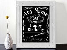 Personalised Jack Daniels Style Label Birthday Gift Art Print Poster.