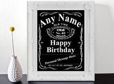 Personalizzata Jack Daniels Stile Etichetta Regalo Di Compleanno art print poster.