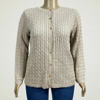 Alfred Dunner Tan Beige Cable Knit Button Front Cardigan Sweater 2X PLUS Acrylic