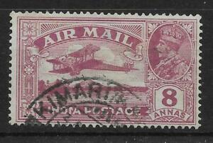 INDIA SG224b 1929 AIR 8a PURPLE REVERSED SERIF VAR USED