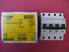 Réf NK440 OU NKN440 DISJONCTEUR HAGER 4P 40A 10/15kA COURBE C 230;400V NEUF