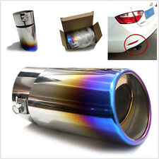 Silver/Blue Car SUV Straight Stainless Steel Rear Tail Exhaust Pipe Tip Muffler