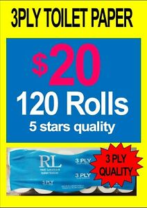 3 ply toilet paper, 120 rolls $20, better4less every day