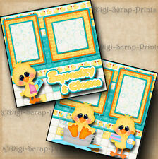 SQUEAKY CLEAN bath boy premade scrapbook pages paper print baby DIGISCRAP #A0081