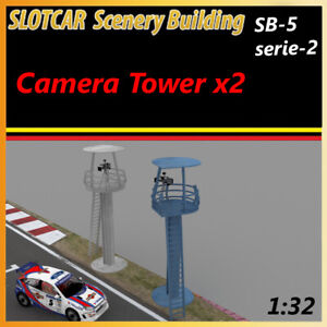 Slotcar Scenery Building 2X Camera Tower for scalextric, carrera