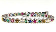 7.36ct natural ruby emerald sapphires diamond tennis bracelet 14 karat gem line