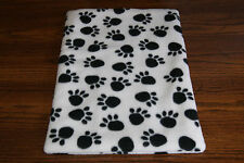 New Paw Print Fleece Dog Cat Pet Carrier Crate Bed Blanket Pad Free S/H! Bcr