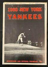 1967 NEW YORK YANKEES DETROIT TIGERS BASEBALL PROGRAM/SCORE CARD SCORED W/TICKET