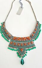 NEW SILVER GREEN ORANGE BRIGHT ETHNIC AFRICAN STYLE CHUNKY STATEMENT NECKLACE