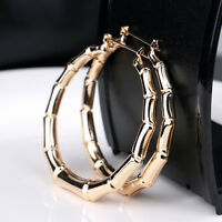 1 Pair Fashion Punk Gold Tone Bamboo Big Hoop Large Alloy Circle Earrings