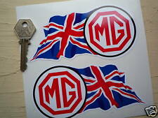 MG Union Jack Handed Classic Car STICKERS 135mm Pair Midget MGB MGA TC MGC T TF